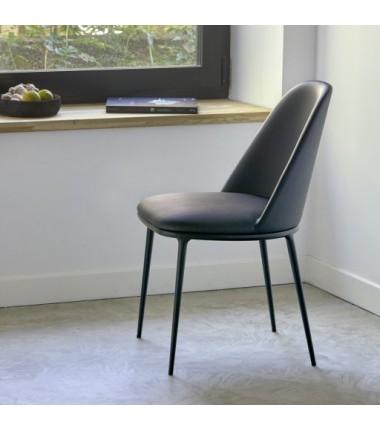 Chaise tissu ecopelle LEA Noir piètement en acier laqué noir