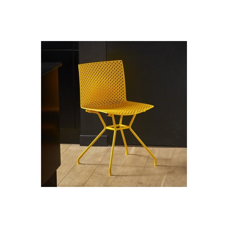 Chaise FERRIS 4 pieds métal verni coloré jaune_2