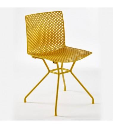 Chaise FERRIS 4 pieds métal verni coloré jaune_3