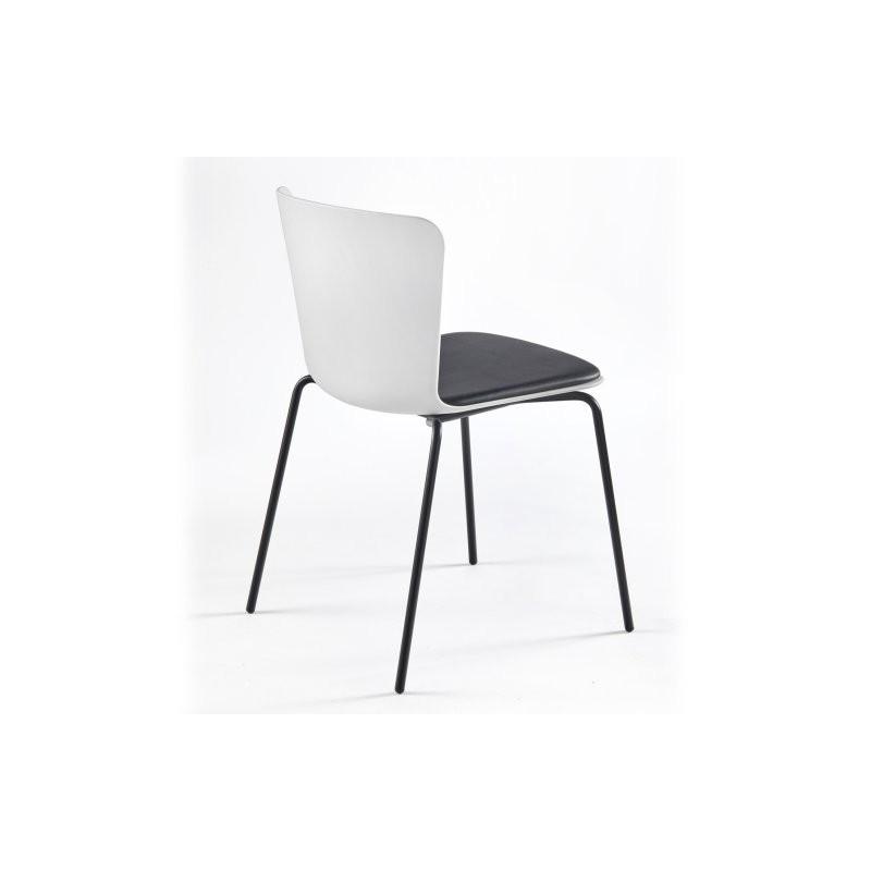 Chaise polypropylène CALLAS blanc avec coussin en tissu ecopelle noir, structure acier laqué noir
