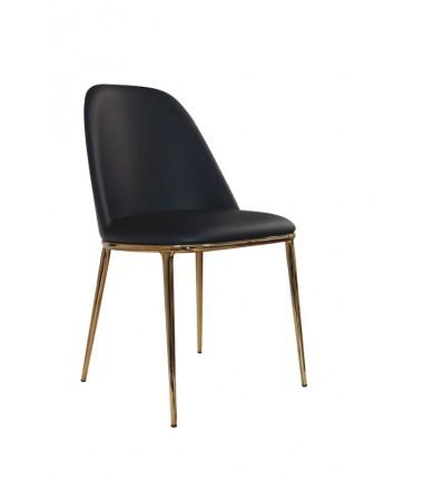 Chaise tissu ecopelle LEA Noir piètement en acier bronze doré