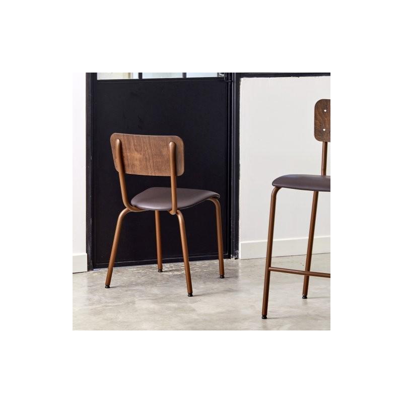 Chaise ALEX structure acier laqué rouillé (aspect Corten) , assise rembourée ecopelle marron dossier bois effet vintage
