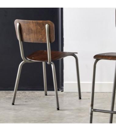 Chaise ALEX structure acier verni transparent, assise et dossier bois effet vintage