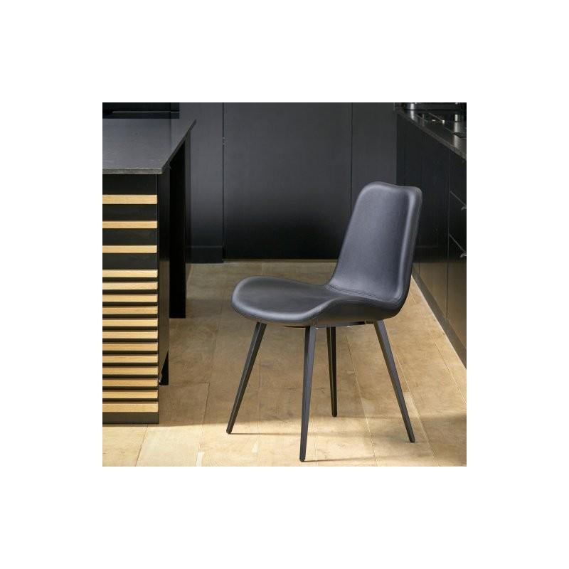 chaise FOREZE pietement Q noir coque revetue ecopelle noir