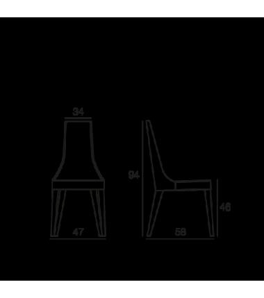 Chaise écopelle MILA blanc structure bois placage noyer