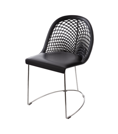 Chaise cuir véritable GILY Noir_2
