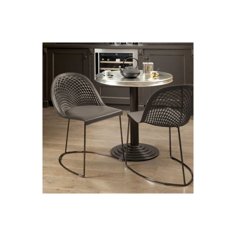 Chaise cuir véritable GILY Taupe structure nickel noir