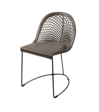 Chaise cuir véritable GILY Taupe_1