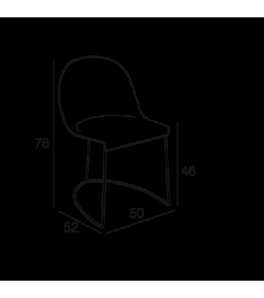Chaise cuir véritable GILY Gris cendre structure acier chromé