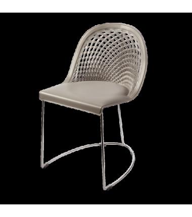 Chaise cuir véritable GILY Gris cendre_2