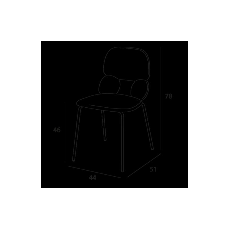 Chaise polyuréthane CYRUS noire, structure acier laqué noir
