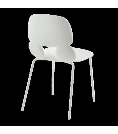 Chaise polyuréthane CYRUS blanche, structure acier laqué blanc