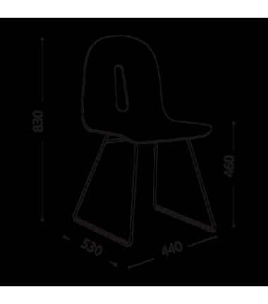 Chaise bois NUX plaqué noyer structure noir