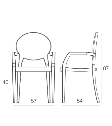 Fauteuil polycarbonate CASPER transparent